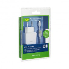 GP WA23 WALL CHARGER 1 X 2.4A - WITH 2M MICRO USB CABLE